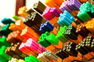 bundles of colored pencils